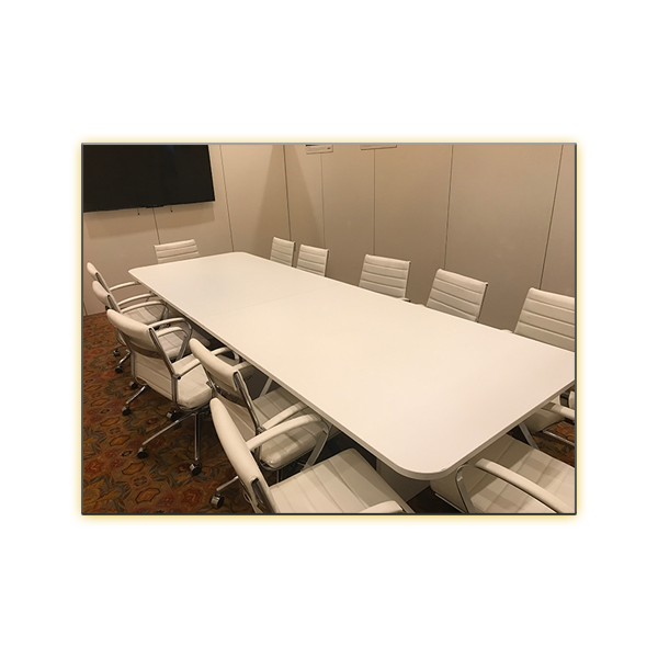 12ft White Conference Table with White Axel Office Chairs - V-Decor Trade Show Furniture Rentals in Las Vegas