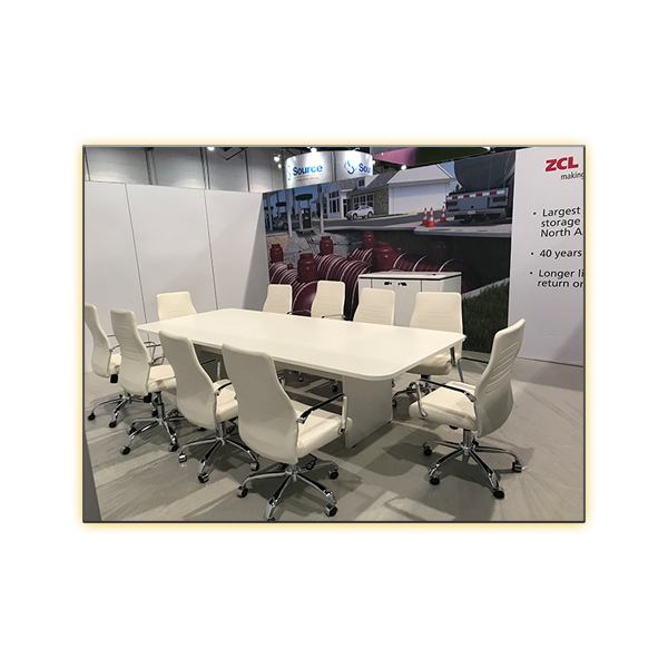 10ft White Conference Table with White Fenella Office Chairs - V-Decor Trade Show Furniture Rentals in Las Vegas