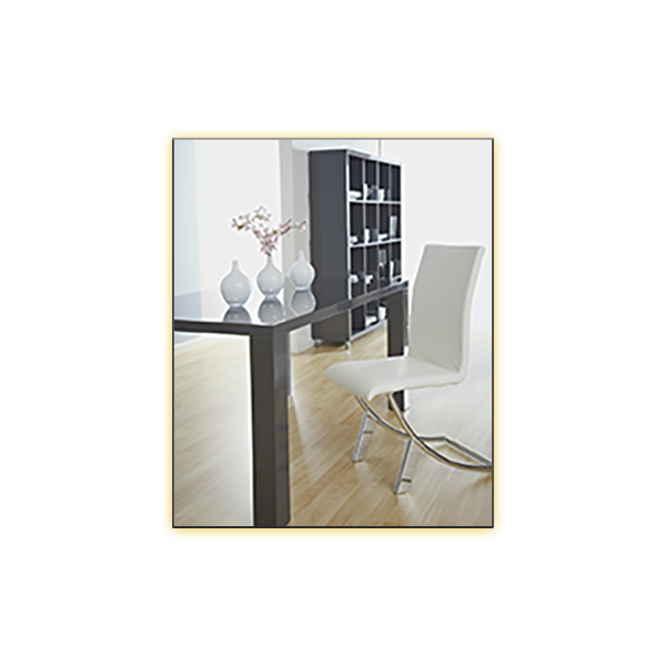 Abby 63in Gray Conference Table with White Delphin Chairs