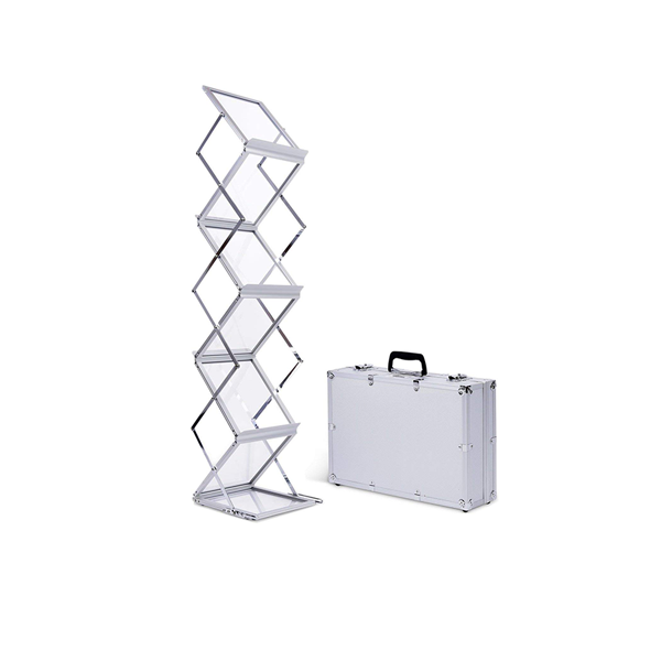 Accordion 6-Pocket Literature Rack with Case