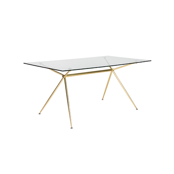 Atos 66in Conference Table - Matte Brushed Gold Base