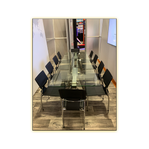 Delano Conference Table with Black Terry Chairs