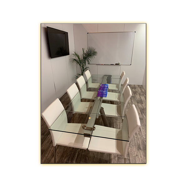 Delano Conference Table with White Diana Chairs