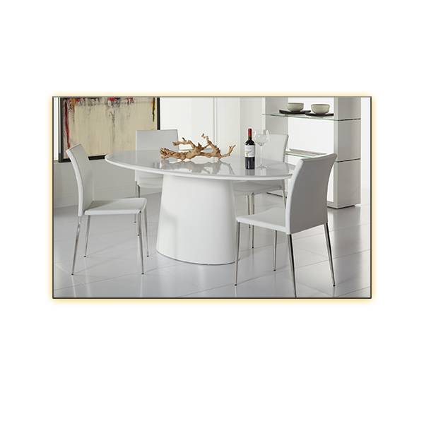 Deod Oval Conference Table with White Diana Chairs