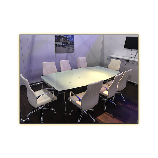 Fenella Office Chairs White and Glass Conference Table