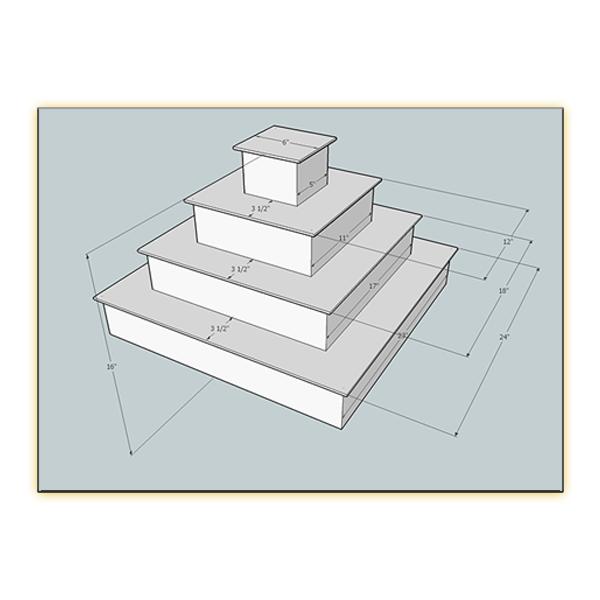 Radiance LED 4-Tier Riser - Dimension