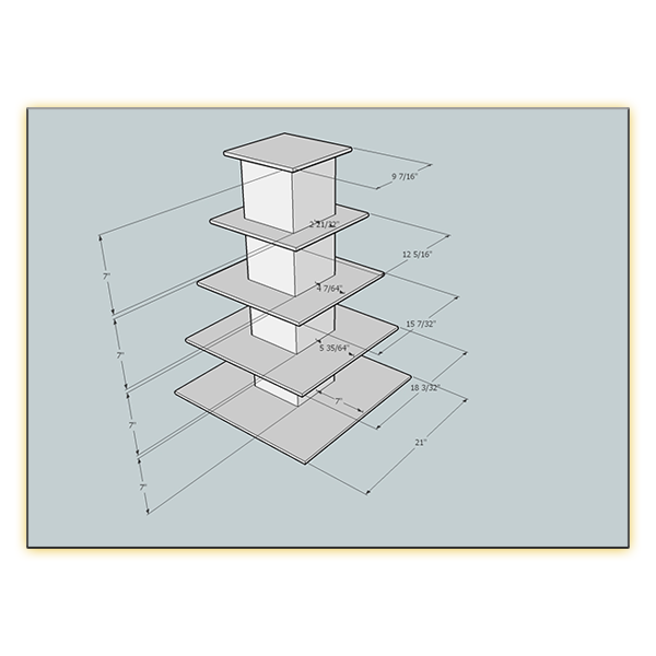 Radiance LED 5-Level Tower - Dimensions