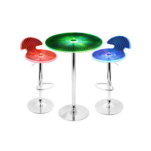 Radiance LED Spiral Collection - Adjustable Bar Stool and Bar Table
