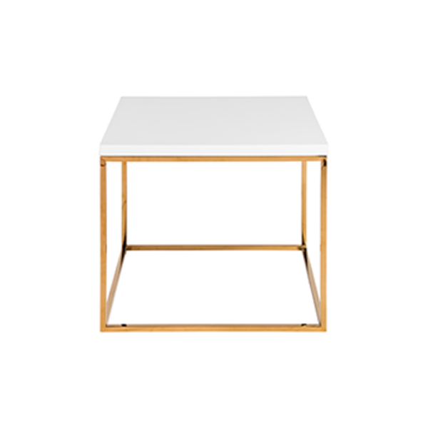 Teresa End Table - White with Gold Base