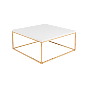 Teresa Square Cocktail Table - White with Gold Base