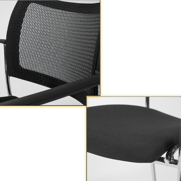 Vahn Stackable Conference Chair - Black Mesh with Black Fabric Seat