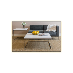 Teresea Square Cocktail Table - White and Vittorio Modular Sofas - Dark Gray