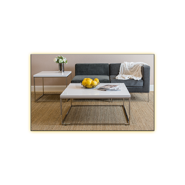 Teresea Square Cocktail Table - White and Vittorio Modular Sofas - Dark Gray