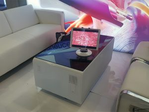 Volt Sobro Coffee Table with White Volt Sofa and Volt USB Armless Lounge Chairs - V-Decor Trade Show Furniture Rentals in Las Vegas