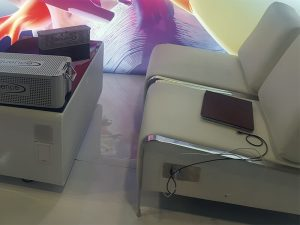 Volt USB Armless Lounge Chairs with Volt Sobro Coffee Table - V-Decor Trade Show Furniture Rentals in Las Vegas