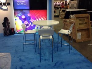 bravo bar table with white terry bar stools - V-Decor Trade Show Furniture Rentals in Las Vegas