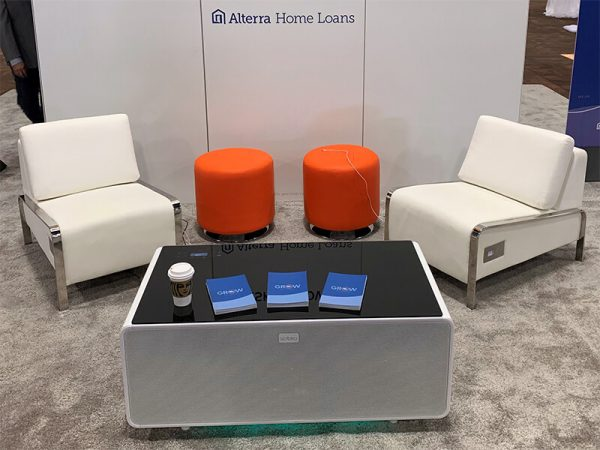 volt usb lounge chairs with volt sobro coffee table and small orange domani ottomans - V-Decor Trade Show Furniture Rentals in Las Vegas