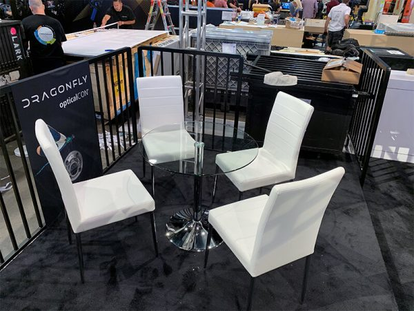 white lance chairs with talia cafe table - V-Decor Trade Show Furniture Rentals in Las Vegas
