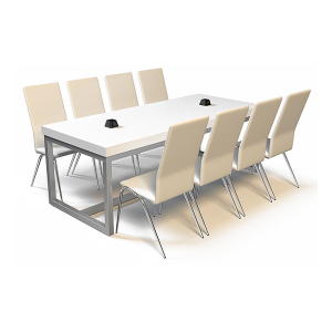 Volt Pyramid USB Cafe Table - White with Chairs