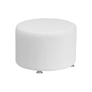 Melrose Large Round Ottoman - White