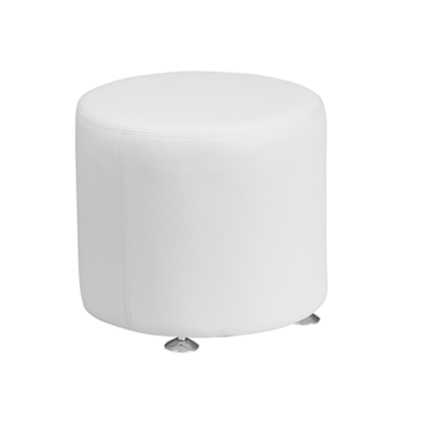Melrose Small Round Ottoman - White