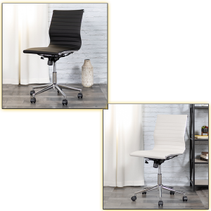 Motto Armless Office Chairs - Black and White