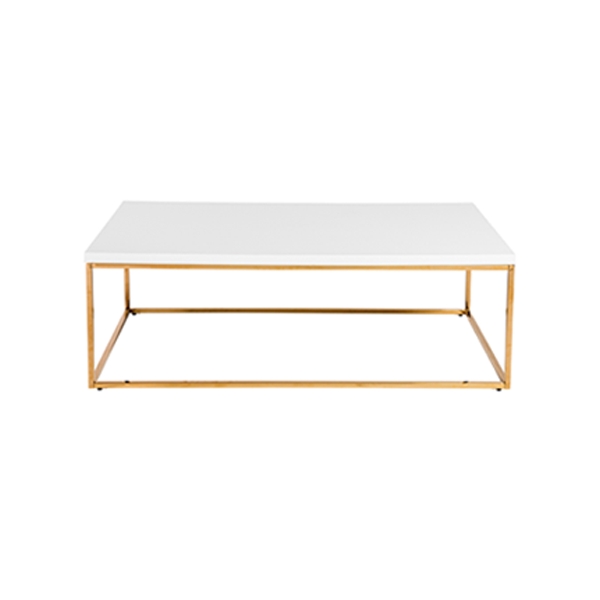 Teresa Cocktail Table - Rectangular - White with Gold Base