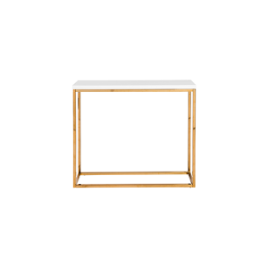 Teresa Sofa Table - White with Gold Base
