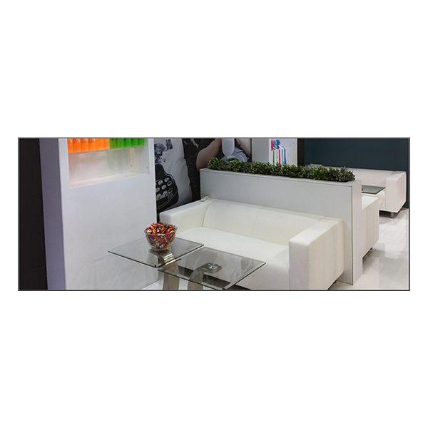 Twist Sofa - White - V-Decor Trade Show Furniture Rentals in Las Vegas